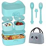 Bento Lunch Box - Vajeme Brotdose Kinder mit 3 Fächer und Besteck, Auslaufsicher, BPA-Frei, Snackbox, Mikrowellen und spülmaschinenfest Hergestellt, Ideal für Kindergarten und Schule