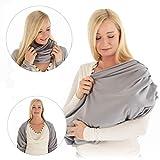 LaLoona Stillschal, atmungsaktives Stilltuch für unterwegs - Abdeckung/Tuch zum Stillen - Still-Loop/Bolero aus Baumwolle - Grau