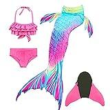 DIIQII Meerjungfrauenflosse Mädchen zum Schwimmen Monoflosse Meerjungfrau, Meerjungfrauenschwanz Flosse Bademode Kinder, Prinzessin Cosplay Bikini Badeanzug (120-130)