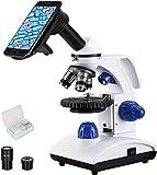 ESSLNB Mikroskop für Kinder Junior Studenten 40X-1000X mit Objektträger LED Durchlicht und Auflicht Koaxiale Grob- und Feintrieb All Optik Glas Akku- und Netzbetrieb