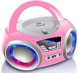 CD-Player mit LED-Beleuchtung   Kopfhöreranschluss   Tragbares Stereo Radio   Kinder Radio   Stereoanlage   USB   CD/MP3 Player   FM Radio   Kopfhöreranschluss   Aux In (Pretty Kitty Pink)