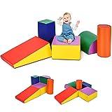 RELAX4LIFE 5 tlg. Softbausteine, Riesenbausteine für Kinderzimmer & Kindergarten, Bausteinset Schaumstoff, wasserdichte Schaumstoffbausteine zum Klettern, weiche Spielbausteine für Kinder Baby, farbig