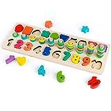 Coogam Zählen Lernen Holz Stapelringe Formensortierer Stapel Spiel - Vorschule Mathematik Zählen Puzzle Board Montessori Pädagogisches Mathe Spielzeug