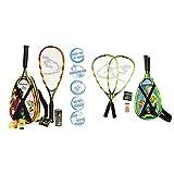 Speedminton S600 Set, Gr&uumln/Gelb/rosa, One Size & Junior Set – Original Speed Badminton/Crossminton Kinder Set inkl. 2 Fun Speeder®, Tasche