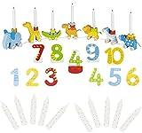 goki 2664 Geburtstagszug aus Holz Zahlen 1-10 10er Set Kerzen weiß, Geburtstagskarawane Holz Tiere