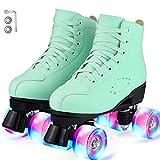 YUDOXN Rollschuhe.Klassische Retro Rollschuhe.Classic Roller, komfortabl LED Rollerskates für Jugendliche und Anfänger.Mädchen. (Frucht grün, 40)