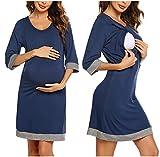 Unibelle Damen Geburt Geburtshemd/Geburtskleid Sommer Stillnachthemd Stillpyjama Nachtwäsche Umstandskleidung mit Stillfunktion Navyblau M