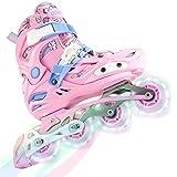 GVDV Inline Skates Mädchen Vestellbare - Inliner für Kinder 83A Beleuchteten Rädern, Rollschuhe mit ABEC-9 Kugellager für Mädchen Anfänger Damen (Größe 28-39)