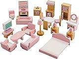 NextX Puppenhausmöbel Set Zubehör Puppenhaus Holz 22-teilig, Möbel für Minipuppen enthalten Badezimmer Schlafzimmer Wohnzimmer puppenküche