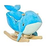 HOMCOM Schaukelpferd mit Sound Plüsch Schaukeltier Babyschaukel Spielzeug für 18-36 Monaten Kinder Töne Pappelholz PP-Kunststoff Blau 60 x 33 x 50 cm