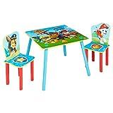 Worlds Apart Paw Patrol-Set aus Tisch und 2 Stühlen für Kinder, Holz, Rot/Blau, 63 x 63 x 52.5 cm