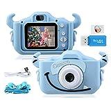 """Kinder Kamera, 2.0""""Display 1080P HD GREPRO Digitalkamera für 4 5 6 8 7 9 10 Jahre alt mädchen und Jungen, Anti-Drop Fotoapparat Kinder für Geburtstagsspielzeug Geschenke mit Weiche Silikonhülle Blau"""