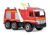 Simm 02058 Starke Riesen Feuerwehr Mercedes Benz Actros, Giga Trucks Feuerwehrauto ca. 65 cm, Löschfahrzeug mit 3 Achsen, 1,5 Liter Tank und Wasserkanone bis 8 Meter, für Kinder ab 3 Jahre, Rot