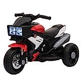 HOMCOM Elektrofahrzeug Kindermotorrad Kinderfahrzeug mit Musik und Beleuchtung Elektro-Dreirad mit Akku 3-6 Jahre Stahl Rot+Weiß 86x42x52 cm