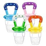 Fruchtsauger für Baby, LEONMAR 4 Stück Schätzchen Schnuller Gemüse sauger für Schätzchen Schnuller Beißring für Obst Gemüse Brei (food feeder)