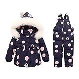 Premewish Baby Mädchen Schneeanzug Set,2 TLG Daunenjacke und Schneelatzhose,Kapuze mit abnehmbaren Plüschbesatz - kw816 (12-24 Monate, Dunkelblau)