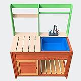 Wiltec Kinderküche Outdoor 72x39,5x91,1cm aus Holz, Matschküche für draußen mit Spülbecken und Herd