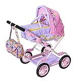 Zapf Creation 828649 BABY born Deluxe Pram Puppenwagen mit verstellbarer Griffhöhe und Wickeltasche, Puppenzubehör für Puppen fast jeder Größe