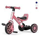 XJD 3 in 1 Kinder Dreirad Laufrad Klassiker 1.0 Lauffahrrad Kinderdreirad für 10-36 Monaten mit abnehmbares Pedal Höhenverstellbar Laufräder Jungen Mädchen Baby Balance Bike(Rosa)