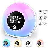 APKYO Wake Up Light Lichtwecker mit Bluetooth-Lautsprecher ,Wecker Kinder mit Nachtlampe Reisewecker,Wecker mit Licht, Dimmbar, 5 Farbwechsel, geeignet für Kinder, Schlafzimmer, Gift.