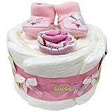 Kleine Windeltorte Booties Schmetterling für Mädchen in rosa. Geschenk zur Taufe, Babyparty oder Geburt.Windeltorte (Girl-2)