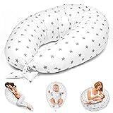 Stillkissen Schwangerschaftskissen zum Schlafen Seitenschläferkissen - Lagerungskissen für Baby XXL Pregnancy Pillow Oeko-Tex Weiß mit Grauen Sternen