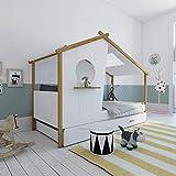 Homestyle4u 1950, Kinderbett Mit Lattenrost, Hausbett 90x200 Weiss mit Bettkasten, Holz Kiefer