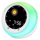 I·Code Sonne & Mond Wecker für Kinder, Kinder Schlaftrainer mit Nachtlicht, Schlaf Sound Maschine, Schlaf Timer