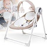 Elektrische Babyschaukel (vollautomatisch) mit 12 Melodien (Lautstärke regelbar), 3 Timerfunktionrn und 5 Schaukelgeschwindigkeiten (BEIGE)