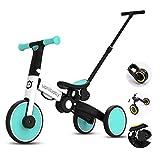 OLYSPM 5 in 1 Laufräder Kinder Dreirad Lauflernhilfe,leichtes Kinderrad Lauflernrad faltbar Kinderlaufrad,mit Schubstange Kinderdreirad,laufrad ab 1.5 Jahre bis 5 Jahren(Hellblau)