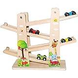 Baobë Holzspielzeug Kinder Kugelbahn Spielzeug Auto Rennbahn Holz Spielzeug mit 4 Fahrzeuge Auto Kinderspielzeug Geburtstaggeschenke ab 1 Jahr Jungen und Mädchen