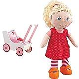 Haba 950 - Puppenwagen Herzen, niedlicher Puppenwagen mit zweifach verstellbarem Bügel, Matratze, Kissen und Decke, ab 12 Monaten & 302108 - Puppe Annelie, mit Kleidung und Haaren, 30cm, ab 18 Monaten