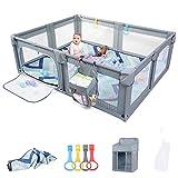 Laufstall Baby 200x160cm, extra große Sicherheitsspielplatz, Absperrgitter mit atmungsaktivem Netz Schutzgitter Krabbelgitter für Kinder, Babyzaun mit Hanging Windel Organizer und Matte