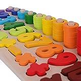 SCHMETTERLINE Holz-Puzzle mit Zahlen für Kinder ab 3 Jahre _ Montessori Spielzeug aus Holz zum Zählen Lernen _ Lern-Spiel mit Farben und Formen für Kleinkinder (Regenbogen)