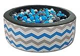 Odolplusz Bällebad Bällepool Spielbälle Bällchenbad mit 200 bunten Bällen, 90 x 30 cm, viele Farben zur Auswahl Spielbälle Kugelbad Spielbecken (ZigZack 2)