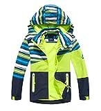 YoungSoul Kinder Gefütterte Regenjacke Mädchen Windjacke Jungen Übergangsjacke Outdoorjacke Softshelljacke mit Farbblock und Gestreift Grün DE: 128-134 (Herstellergröße 130)