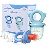 Eccomum 2 Fruchtsauger für Baby & Kleinkind, 3 Größen -Silikon Schätzchen Schnuller für Obst und Gemüse Brei Beikost, BPA-Frei, Spielzeug Beißring in Appetitstimulation, Blau/Grün