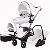 3 in 1 Kombikinderwagen Kinderwagen 3-in-1 Dreirad Lauflernhilfe Hochlandschaft Kinderwagen Faltbarer Kinderwagen Babywagen Babywagen für Baby 0-36 Monate (Weiß)