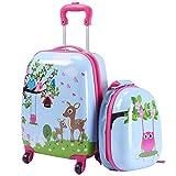 DREAMADE Kinderkoffer-Set Kiderkoffer mit Rucksack, Kindertrolley Kindergepäck, Handgepäck Reisegepäck Hartschalenkoffer für Kinder (Dschungel)