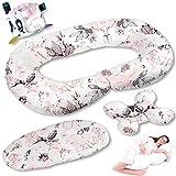 5in1 Stillkissen Set mit Bezug aus 100% Baumwolle für Mutter und Baby XXL 130x70cm Seitenschläferkissen Schwangerschaftskissen Matratzenauflage Kissen Entdeckewürfel TUZI (33)