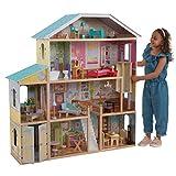 KidKraft 65252 Puppenhaus Majestic Mansion aus Holz mit Möbeln und Zubehör, Spielset mit vier Spielebenen für 30 cm große Puppen