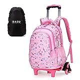 Trolley Rucksäcke Schulrucksack mit Rollen Schule Kinder Trolley Schultasche Rucksack Für Mädchen 45 * 30 * 18cm Rosa 6 Rollen
