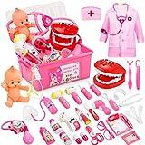 Five joy 43 Teile Arztkoffer Kinder, Doktorkoffer Kinder Rollenspiel Spielzeug Mit Rosa Arztkittel Und Puppe, Doktor-Spiel-Set Medizinischer Koffer Für Mädchengeschenke Im Alter Von 3 Jahren (Rosa)