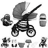Bebebi Florenz | 3 in 1 Kombi Kinderwagen | Luftreifen | Farbe: Galileo Lightgrey Black