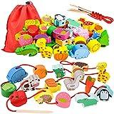 Geschenk für 1-3 Jährige Mädchen Junge, Holzspielzeug Threading Toy Geburtstagsgeschenk für 1 2 3 Jährige Kinder Mädchen Lernspielzeug Montessori Spielzeug ab 2-5 Jahre Kleinkinder Geschenk Fädelspiel