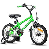 HILAND Pluto 14 Zoll Kinderfahrrad für Mädchen Jungen 3-7 Jahre Alt mit Stützrädern, Handbremse und Rücktritt grün