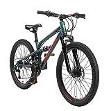 BIKESTAR Kinder Fahrrad Aluminium Fully Mountainbike 21 Gang Shimano, Scheibenbremse ab 9-14 Jahre   24 Zoll Kinderrad Vollgefedert MTB   Grün