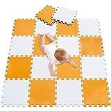 meiqicool Puzzlematte 18 Stück | Kälteschutz | abwaschbar Kinderspielteppich Spielmatte Spielteppich Matte Weiß orange 0102