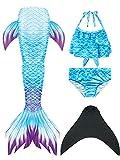 NAITOKE Meerjungfrauenschwanz mit Flosse für Mädchen Meerjungfrau mit Mermaid Tail Badeanzug