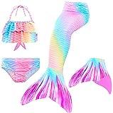 Le SSara 2018 Mädchen Meerjungfrau Tails Bikini Badeanzug setzt 4 Stücke Bademode mit Flosse für Schwimmen Cosplay Partei (110, GB15+Pink)